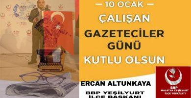 Başkan Altunkaya'dan 10 Ocak Çalışan Gazeteciler Günü Kutlama Mesajı